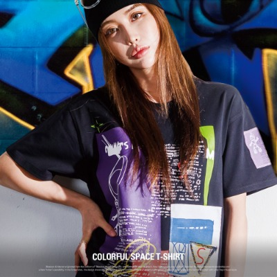 [S11922] COLORFUL SPACE T-SHIRT