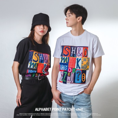 [S11030] ALPHABET POINT PATCH T-SHIRT