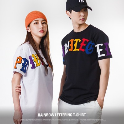 [S11055] RAINBOW LETTERING T-SHIRT