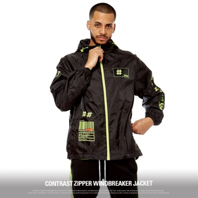 [S51005] CONTRAST ZIPPER WINDBREAKER JACKET