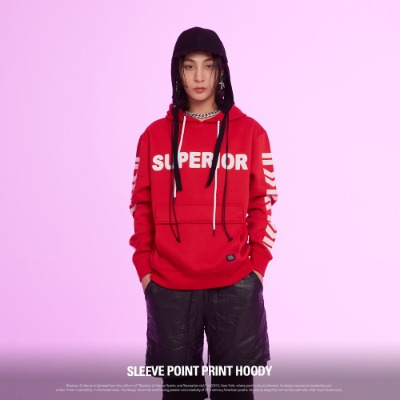 [BF0577] SLEEVE POINT PRINTING HOODY