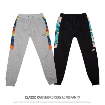 [P11060]CLASSIC CAR EMBROIDERY LONG PANTS
